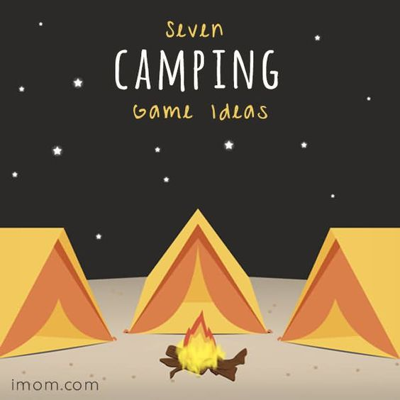 Cartoon of tents and campfire.