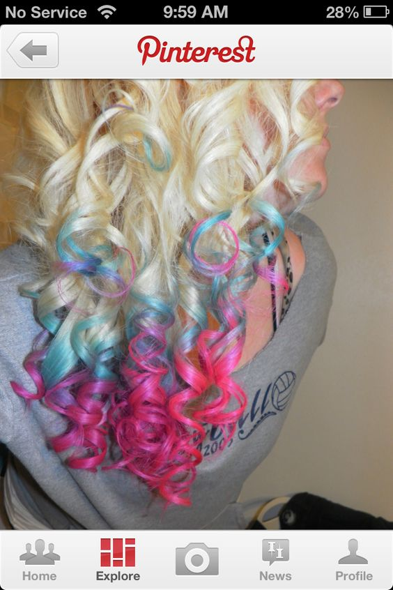 Pink purple and blue tips...