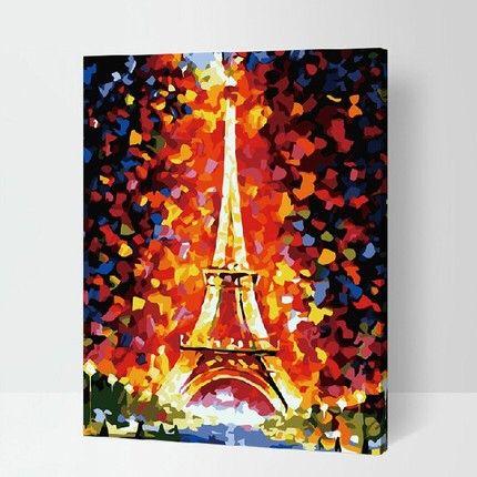 Bois cadre intérieur coloriage By Numbers bricolage peinture à l'huile numérique toile coton paysage tour Eiffel motif décoration 40 x 50 cm