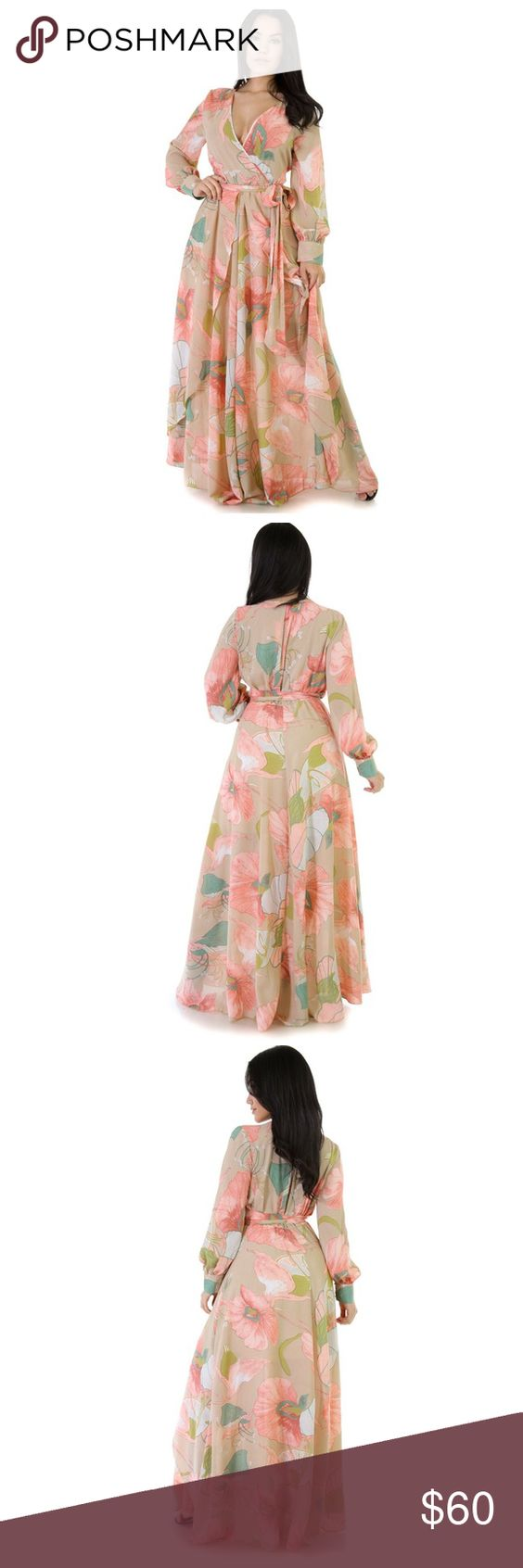 Peach nude floral maxi dress Fits sizes 10-12. Sash can either be tied on the back or side. Brand new with tags.             ***Not from Missguided*** Missguided Dresses Maxi