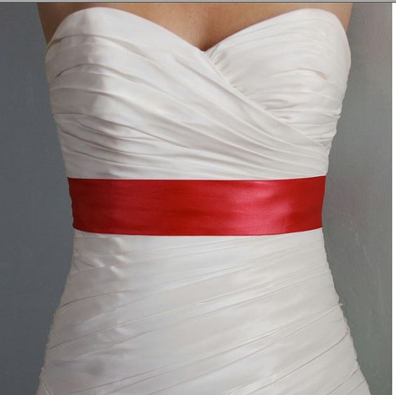 Ready to Ship Red  2 Inch Simple Satin Bridal Sash by BridalShoppe, $28.00