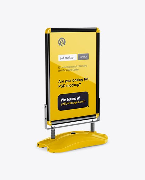 Glossy Pavement Stand Mockup Half Side View In Outdoor Advertising Mockups On Yellow Images Object Mockups Mockup Free Psd Mockup Psd Psd Mockup Template