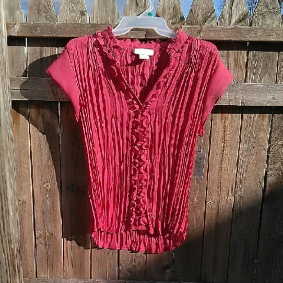 """NWT Semi Sheer Rose Button Up Flattering soft pleats & ruffle. Longer in back. On 30"""" x 23"""" x 30 mani Measured flat 15"""" across bust 24"""" long Poly. Worthington Tops Button Down Shirts"""