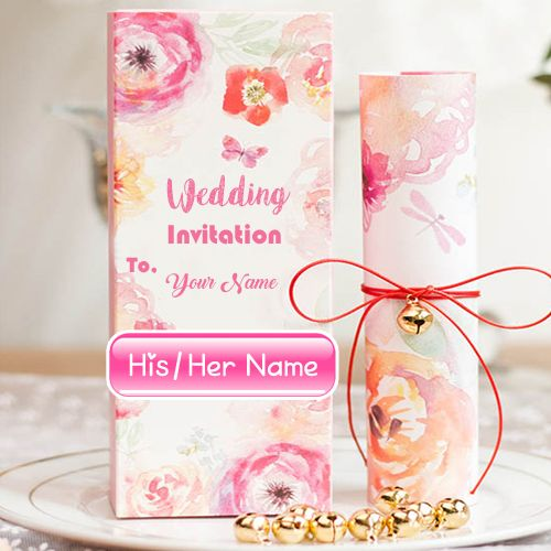 Online Name Write Wedding Inviting Card Sent Photo Wedding