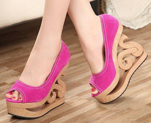 2014 New Peep Toe Women Pumps Platform Wedge High Heels Ladies Casual Shoes Abnormal Heels Woman Female Footwear Black Rose  $45.98