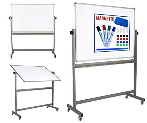 Magnetic Mobile White Board Dry Erase Board Double Sided Whiteboard Rolling Wheels 4 Markers Eraser Magnets Rul White Board Magnetic White Board Portable House