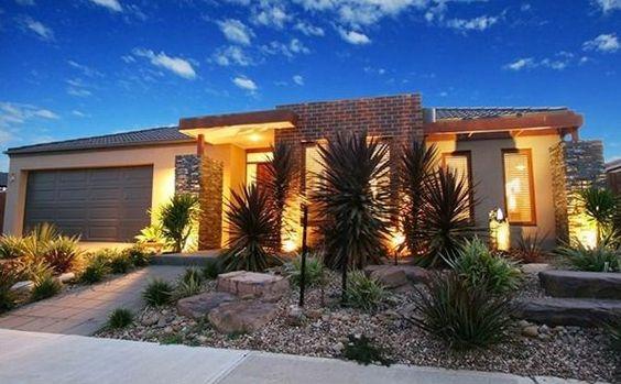 vorgartengestaltung modern wüste inspiration pflanzenbeete steine