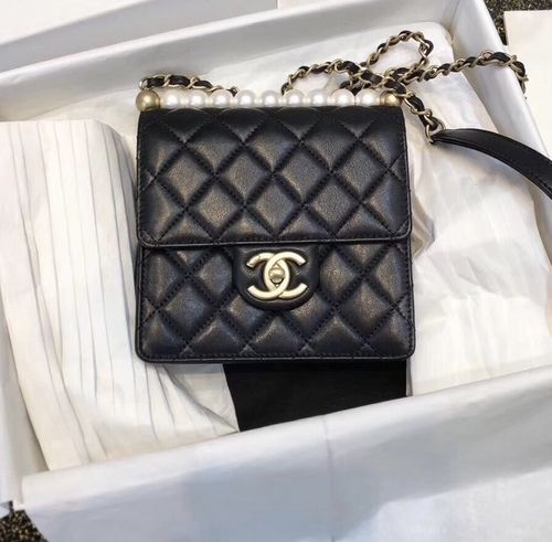Chanel Limited Edition Pearl Flap Bag 2019 Black