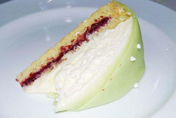 and it consists of alternating layers of sponge cake, raspberry jam ...