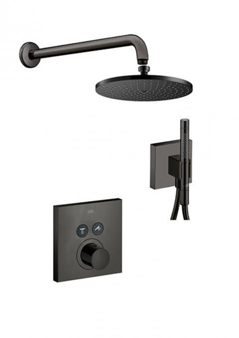 Axor Shower Select Brushed Black Inbouwset Met Thermostatische Mengkraan Douches Badkamer Badkamerideeen