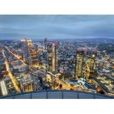 Blick vom HELABA Turm Richtung Westen, rechts Deutsche Bank, Frankfurt, Fototapete Merian, Fotograf: K. Bossemeyer