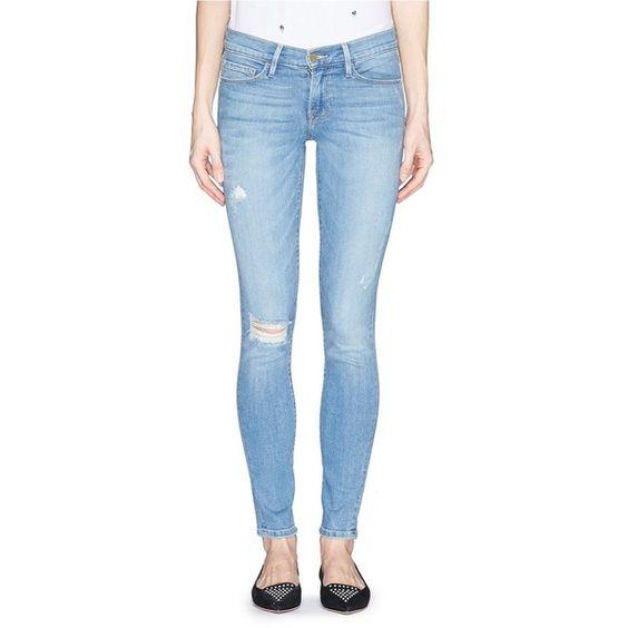 Frame Denim 'Le Skinny De Jeanne' distressed skinny jeans (365 CAD) ❤ liked on Polyvore