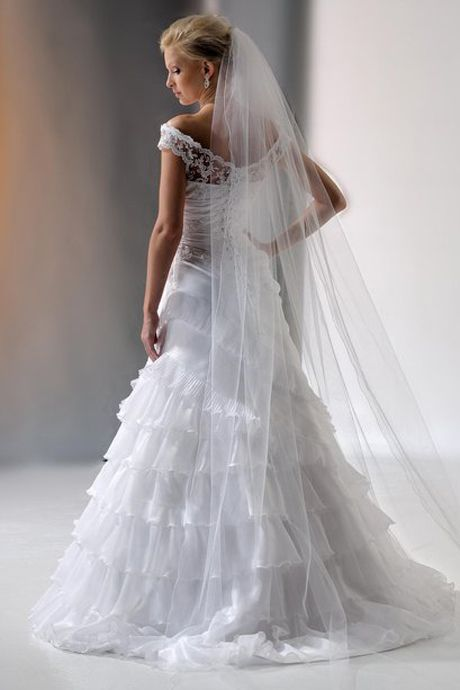 Lace Capped Sleeves Multi-tiered Organza Wedding Gown, Designer Wedding Dresses - dressale.com