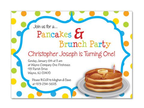 Pancake Brunch Birthday Invitations | Kid, Birthdays and Birthday ...