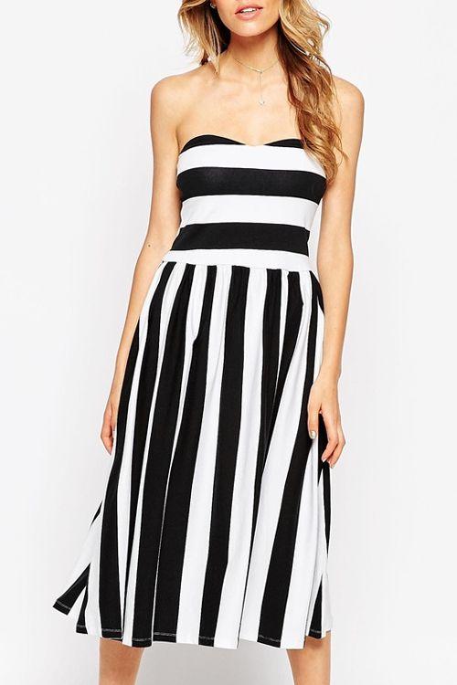 Blocked Stripe Midi Bandeau Dress With Open Back