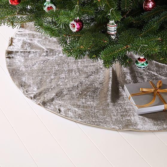 Lush Velvet Tree Skirt White Christmas Ornaments Tree Skirts Silver Tree Skirt