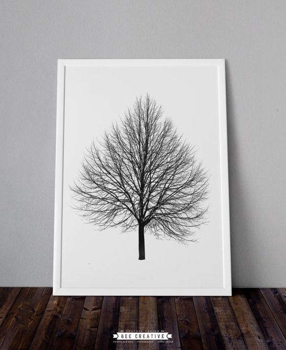 Tree Black and White Poster, Nature Art Print, Tree Art, Home Office Decor, Wall Art, Minimalist Design, Printable Poster,  Instant Download: