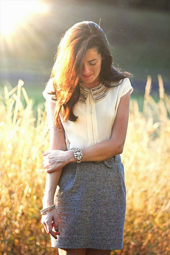 gray + cream + statement jewelry / spring work wear