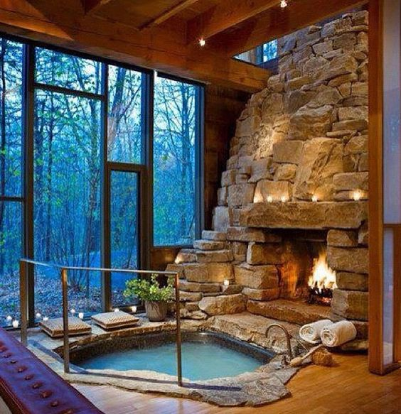 Image result for winter bath and fireplace