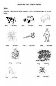 math worksheet : english worksheet living and non living things 2  things to wear  : Living And Nonliving Things Kindergarten Worksheets