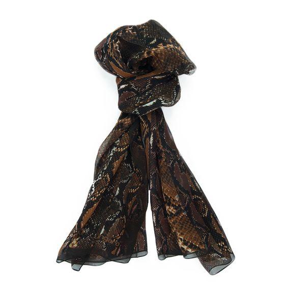 Ungaro UN7018 S7795 Snake Print Brown Silk Scarf