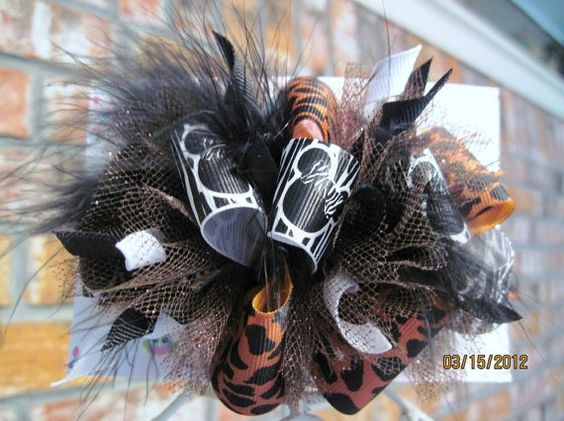 zebra & cheetah minnie mouse bow