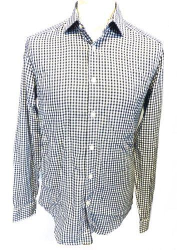 REISS-Mens-Black-White-Mini-Gingham-Check-Long-Sleeve-Slim-Fit-Shirt-M-NEW
