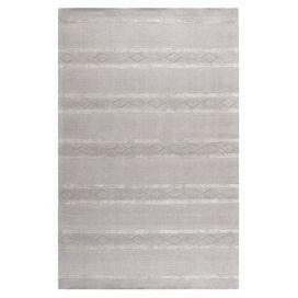 Wool rug with geometric striping.