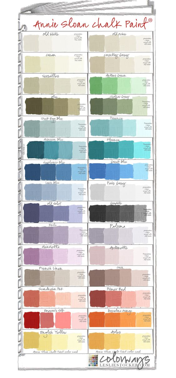 Annie Sloan Chalk Paint Swatch Book.  Paint Colors + Tints Hi Everyone! The move from Colorways on blogspot to Colorways @ lesliestocker.com is almost complete. All (190+) of my posts have been add...