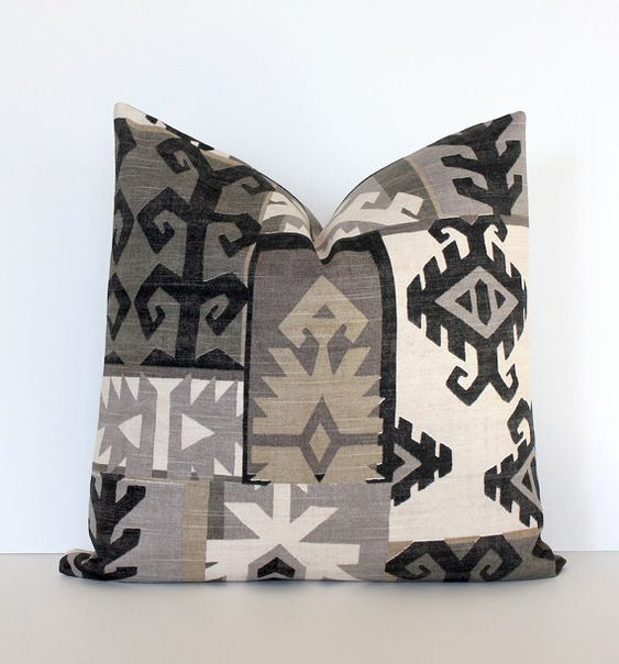 Black and Gray Southwestern Designer Cushion Cover 18