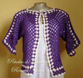 * Pérolas do Crochet: Casaquinho em crochet hexágono super fácil com pap