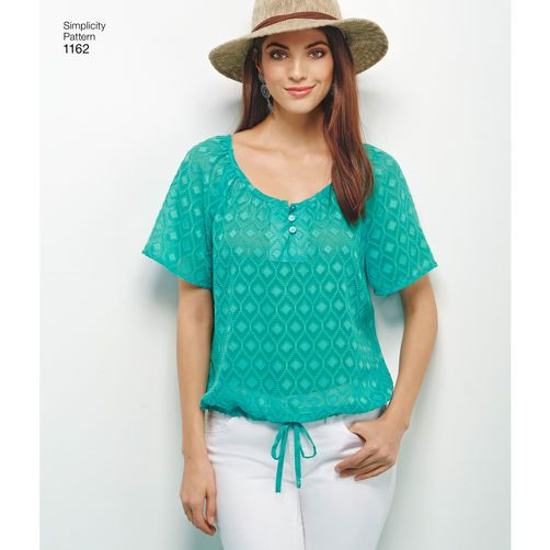 Simplicity Pattern 1162 Misses' Blouse with Sleeve, Length and Trim Variations: