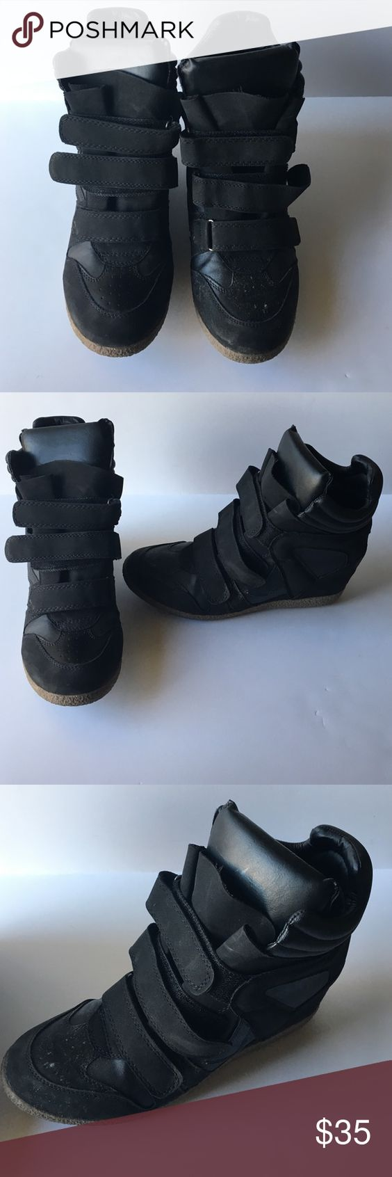 Xhilaration Kahsha black heeled sneaker Isabel Marant style black heeled sneaker. Velcro closure. Only worn a couple times with a couple minor scuffs Xhilaration Shoes Sneakers