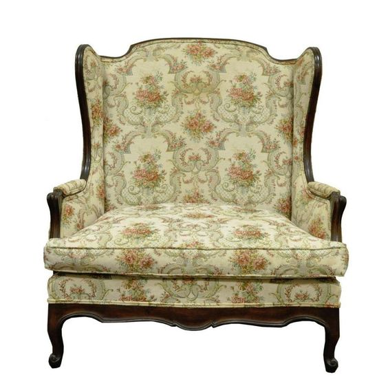 Vintage French Country Louis XV Style Wing Back Settee Love Seat Chair Half Sofa #FrenchFrenchCountry