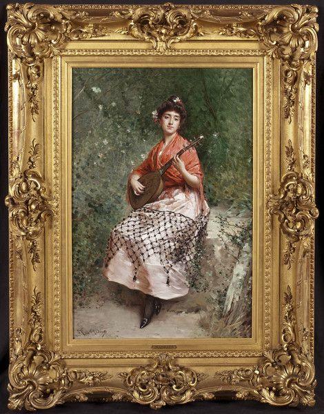OnlineGalleries.com - 'The Beautiful Bandurria Player' Painting by Raimundo de Madrazo y Garretta