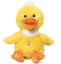 "Tickle and Giggle Friend---$24.99 Cute duck (9"" H) performs a rendition of ""Dynamite."" Tickle his belly and he stops singing and giggles. Uses 3 AAA batteries (not included). Polyester. Imported.  ""Dynamite"" written by Taio Cruz, Lukasz Gottwald, Benjamin Levin, Max Martin, and Bonnie Leigh McKee. EMI April Music Inc.  Limited time only."