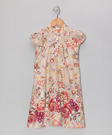 Khaki Antique Rose Dress - Toddler & Girls #zulily #zulilyfinds