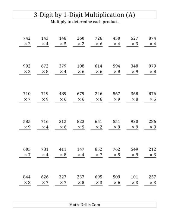 3Digit by 1Digit Multiplication A Math Worksheet freemath – Math Tutoring Worksheets