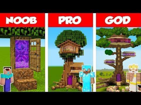 Minecraft Noob Vs Pro Vs God Portal Tree House Challenge In