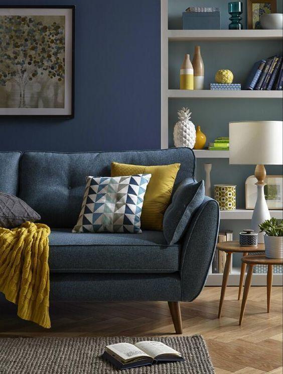 Blue Sofas Living Room