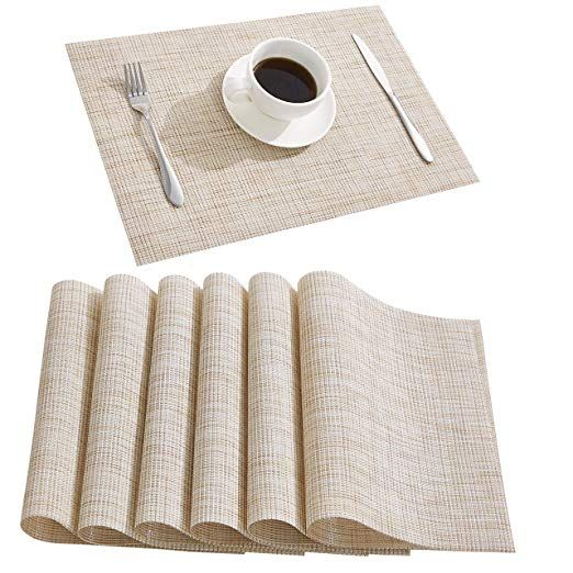 Amazon Com Nacial Beige Place Mats Waterproof Placemats Washable Wipeable Table Mats Set Of 6 For Dining Table Kitchen Placemats Table Mats Cozy Holiday Decor