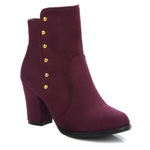 GET $50 NOW   Join RoseGal: Get YOUR $50 NOW!http://www.rosegal.com/boots/suede-dome-stud-zipper-ankle-749310.html?seid=7100241rg749310