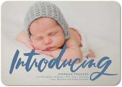 Bold Pen - Girl Photo Birth Announcements - Ali Makes Things - White : Front