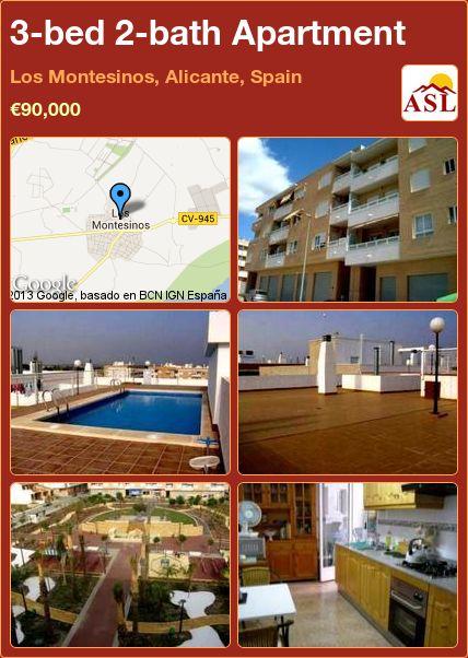 3-bed 2-bath Apartment in Los Montesinos, Alicante, Spain ►€90,000 #PropertyForSaleInSpain