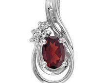 Garnet Diamond Teardrop Pendant Necklace 14k White Gold