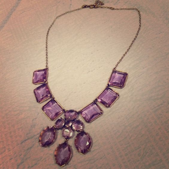 Listing! J Crew Duchess Necklace This beautiful statement necklace adds a regal touch to any outfit. Makes even jeans and a t-shirt look like a sophisticated outfit. Stones are a transparent light purple. Necklace is in great condition, never worn. J. Crew Jewelry Necklaces