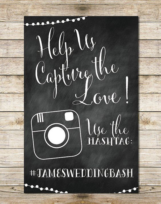 Chalkboard Instagram 11x17 Wedding Sign - Paper Goods, Hashtag Wedding, String Lights Digital Wedding Sign by Southern Spruce