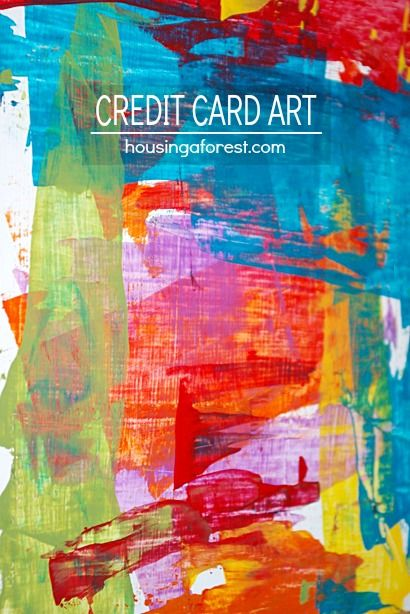 Painting with Credit Cards or plastic Gift Cards ~ beautiful process art