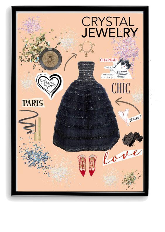 """Chanel Crystal Chic"" by yuline ❤ liked on Polyvore featuring moda, Oscar de la Renta, Chanel, Christian Louboutin, Topshop, L'Oréal Paris, Yves Saint Laurent, Moschino, Bobbi Brown Cosmetics y Bomedo"
