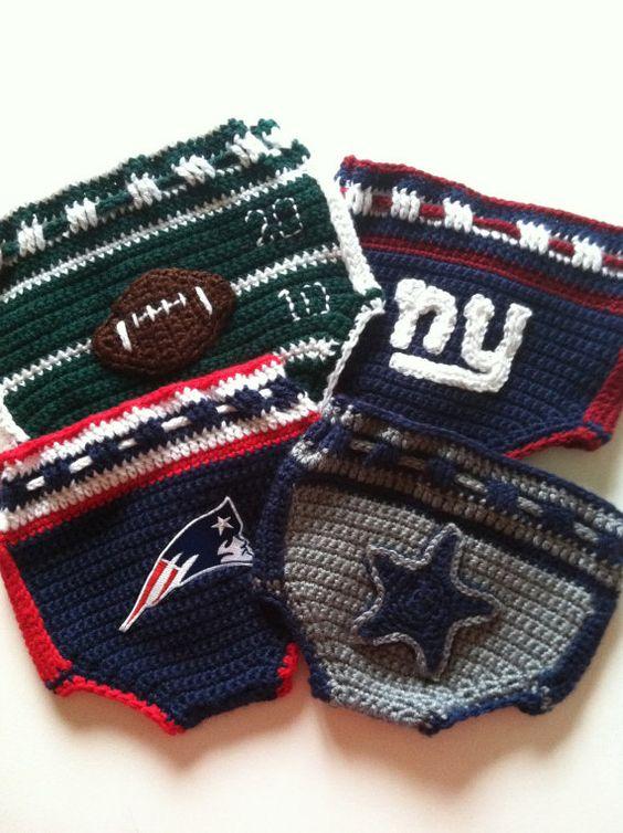 Crochet Pattern for Football Inspired Diaper Cover Soaker, PDF12-058 ...